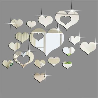 espejos adhesivos para paredes corazones