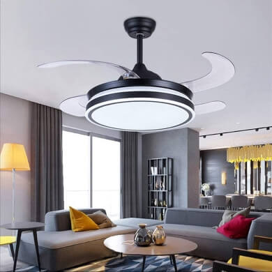 Ventilador de te cho con aspas plegables luz LED mando a distancia ahorro energético