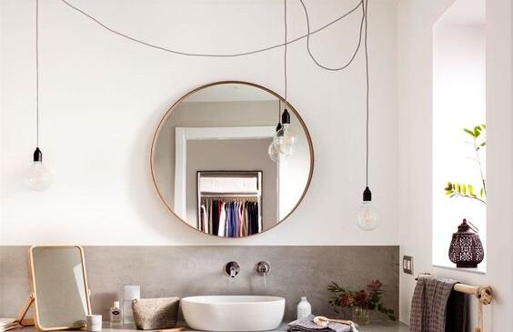 espejo alternativo redondo para baño bano