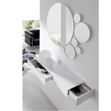 como decorar un recibidor con muebles suspendidos y espejos grandes redondos