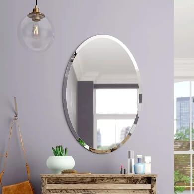 espejo moderno ovalado circular plano biselado elegante