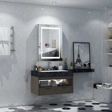 Espejos de baño modernos con luz led pantalla tactil reloj temporizador