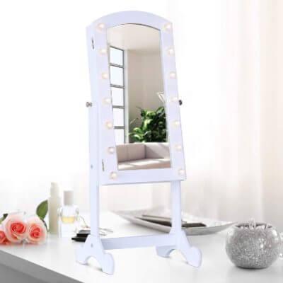 espejo yoyero joyero luces LED mueble joyero maquillaje sobremesa ahorro de energía.