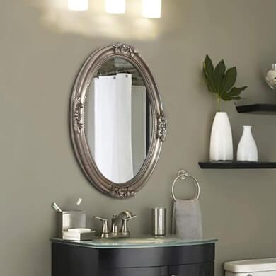 espejo ovalado dorado decorativo elegante banos salon comedor pasillo recibidor dormitorio