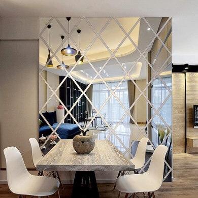 espejo decorativo para comedor adhesivo forma rombo