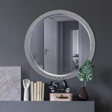 espejo redondo pared marco metal moderno elegante decorativo comedor dormitorio recibidor cuarto bano recibidor