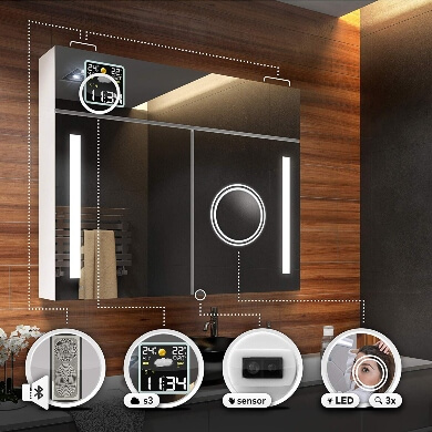 espejo para baño moderno luz led reloj temporizador altavoz