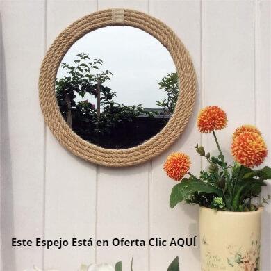 espejos decorados con cuerdas decoración rústica vintage retro para baños salones dormitorios bares restaurantes
