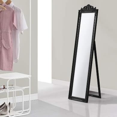 espejos decorativos comedor salon dormitorio pie pared madera negro vintage ofertas descuentos mejores modelos tamaños