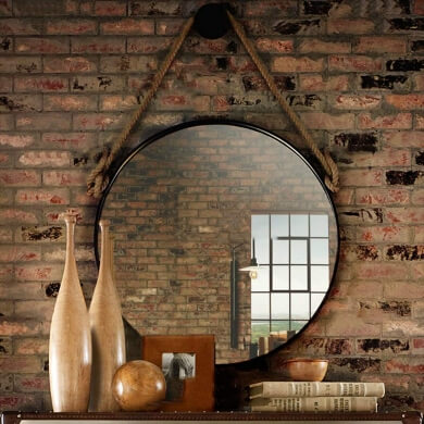 espejo redondo recibidor moderno vintage elegante grande