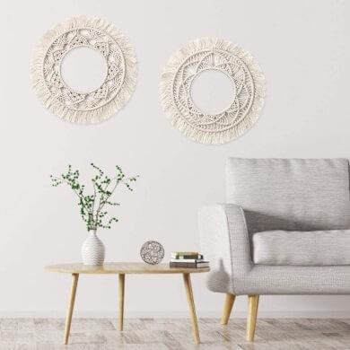 Espejos decorativos macrame una forma original fresca divertida elegante de decorar interiores y exteriores de casas terrazas locales comerciales restaurantes baños pasillos dormitorios recibidores