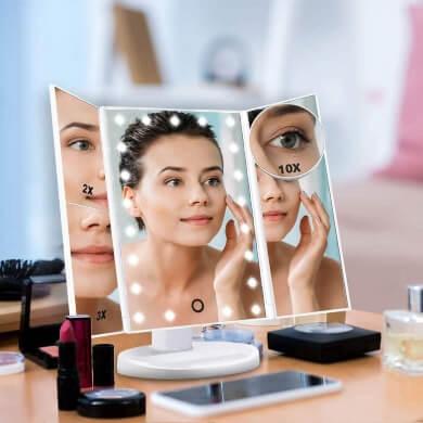 Espejo Triptico tres espejos en uno con luz led aunmentos táctil de mesa maquillaje peinado cejas boca peluquería tocador