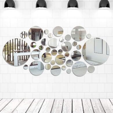 espejos ahdesivos paredes decoració reflejo iluminación interiores salon comedor pasillos dormitorios baños