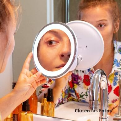 espejos ventosa pared mesa x10 baño maquillaje peluquería belleza rostro cara cejas labios barba patilla