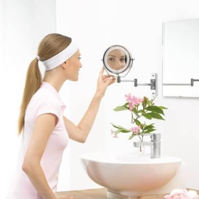 Espejos de maquillaje aumento led pared extensible x10 para baño tocador dormitorio peluquería salón de belleza profesional