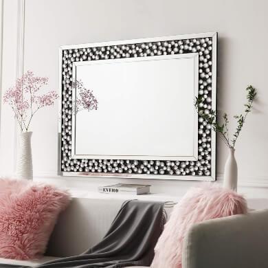 espejo decorativo marco cuentas de cristal decoracion interiores rebajas barato italiano
