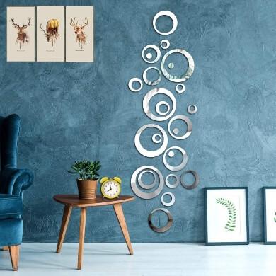 espejos adhesivos con forma de aros para decorar paredes azulejos cristales vinilos pegar