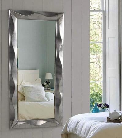 espejo cuadrado - marco plateado - decorativo - dormitorio - salón - baño - living comedor