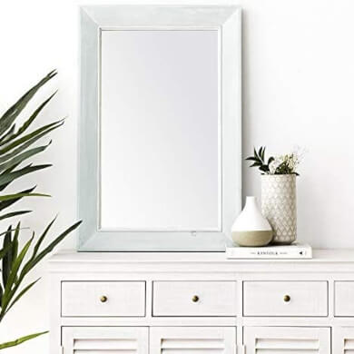 espejo decorativo sobre mueble comoda repisa estante madera color blanco en oferta on line