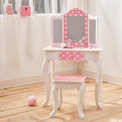 Tocador espejo cajones rosa blanco madera