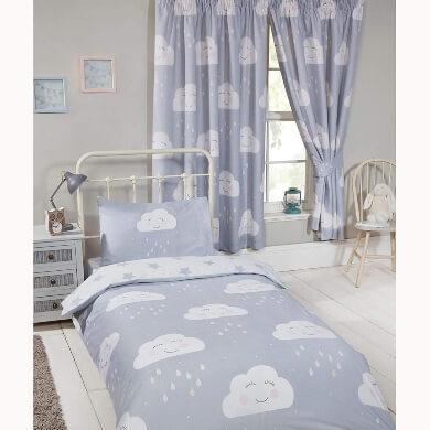 funda edredon almohada cortina nubes dormitorio infantil