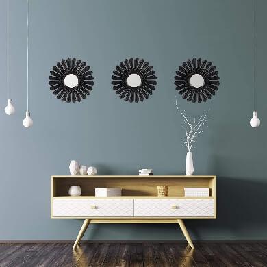 conjunto de espejos decoración estilo nórdico minimalista paredes lisas salon comedor dormitorio combinación de colores cálidos