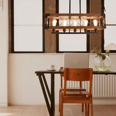 Lámpara de techo vintage retro industrial de madera forja luz led para cocinas comedores restaurantes bares hoteles