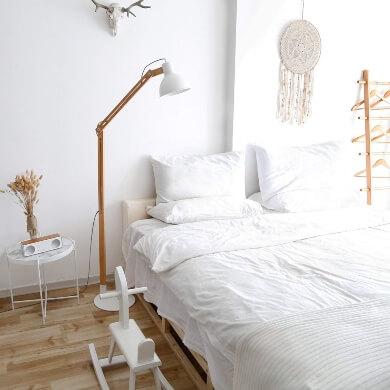 Ofertas Lámparas de Madera de pie diseño regulable  tulipa blanca  luz LED