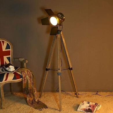 lampara suelo pie madera estilo nautico vintage retro industrial tripode moderno económico con envío a casa gratis