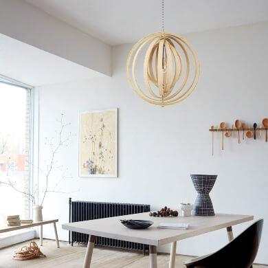 Lámpara techo colgante madera circular esfera diseño comedor dormitorio salon