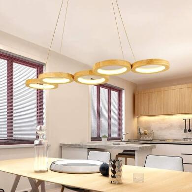 Lámpara de techo madera anillos aros luz LED diseño decorativa para cocina salón comedor dormitorio recibidor hoteles restaurantes locales