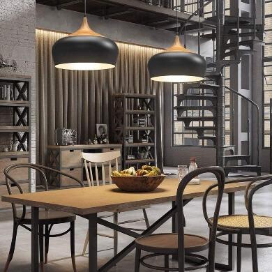 mejor lampara techo diseño moderno vintage elegante negro madera decorativo hogar local comercial hoteles restaurantes lujo elegancia