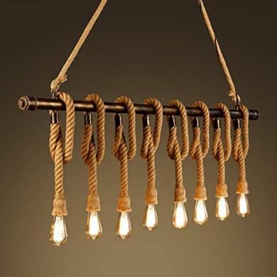 lápara rústica cuerdas madera bombillas vintage retro