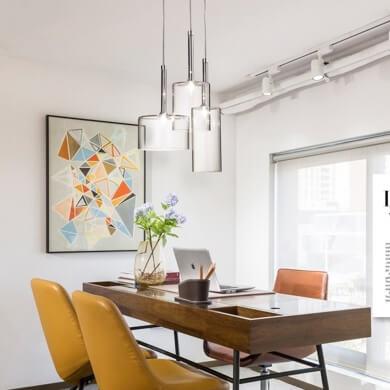 interiorismo salon comedor lamparas cristal luz led