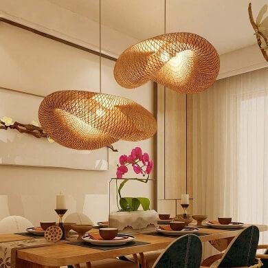 Lámparas Techo Madera Bambú Elegante Exótica Oferta
