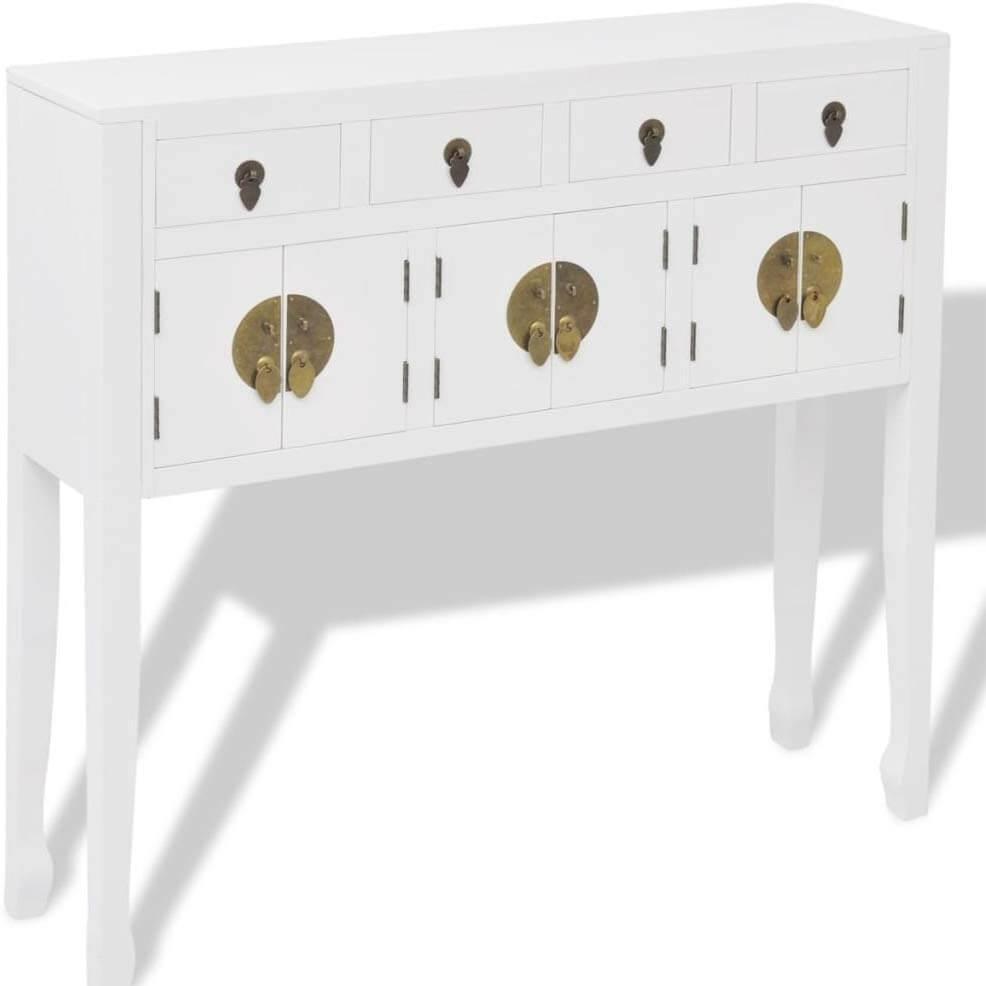 mueble decorativo recibidor estilo oriental color blanco lacado