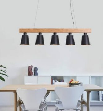 Lámpara de madera metal tulipas negras oferta comedor