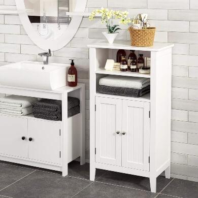 mueble auxiliar baño suelo colgante suspendido color blanco madera