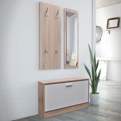 mueble recibidor perchero espejo zapatero moderno barato oferta