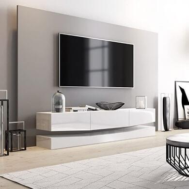 mueble blanco salon TV decorativo moderno