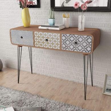 Mueble recibidor estilo vintage con cajones y patas de acero