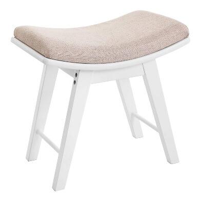 taburete tocador madera asiento blanco comodo elegante original oferta
