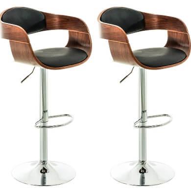 taburete bar diseño madera metal piel cuero colores nogal negro