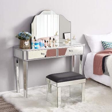 tocador con espejos decorativo elegante funcional económico de diseño para dormitorio vestidor peluquerías teatros