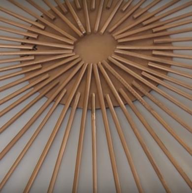 pintura dorada varillas madera espejos sol manualidades faciles espejo