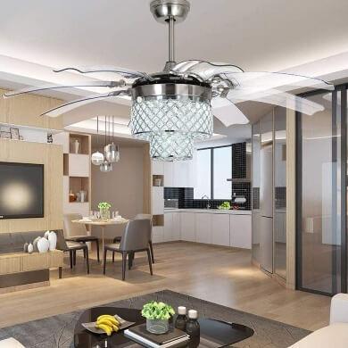 lámpara con ventilador silencioso techo decoraativo moderno luz led ahorro energético diseño moderno actual