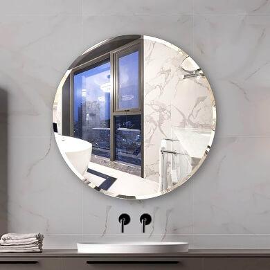 espejo moderno redondo para baño biselado barato