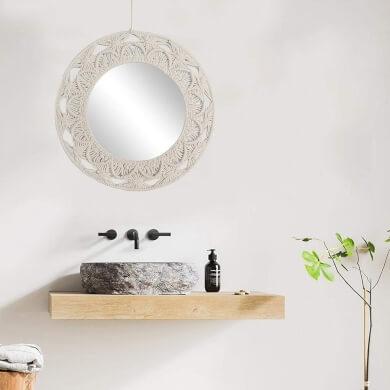 espejo de pared textil tela tejido macrame