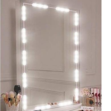 espejo con  bombilla led mate brillo blanca calida