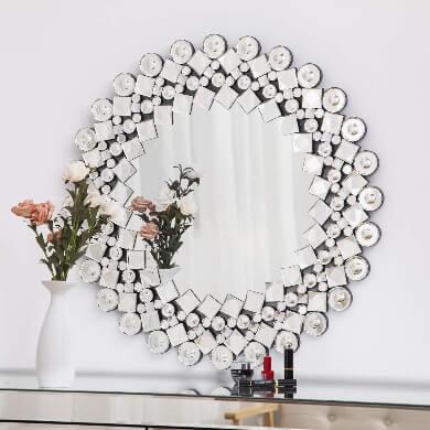 espejos decorativos para comedor redondo con marco de cristal de espejo
